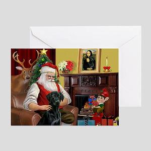 Santa's Black Lab Greeting Card