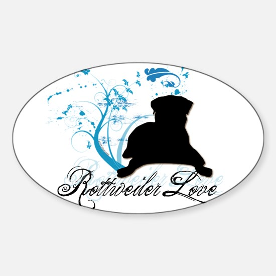 Rottweiler Love Oval Decal