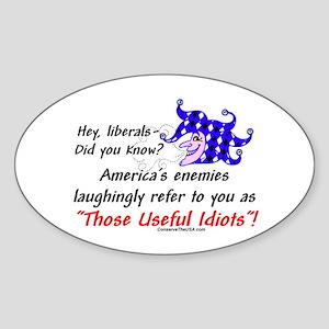 """Useful Idiots"" Oval Sticker"