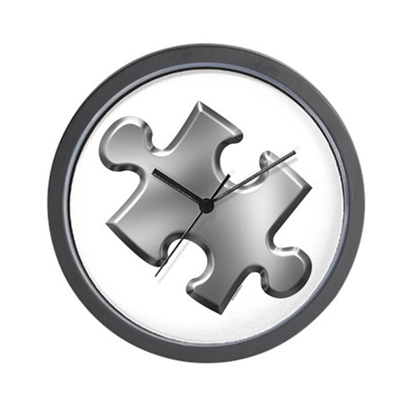 Puzzle Piece Ala Carte 1.5 (Silver) Wall Clock
