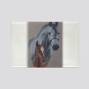 Grey Mare and Chestnut Foal Rectangle Magnet