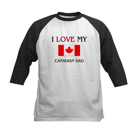 I Love My Canadian Dad Kids Baseball Jersey
