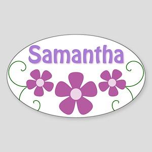 Samantha Pink Flowers Oval Sticker