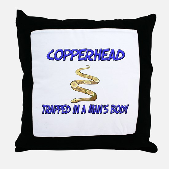 Copperhead Trapped In A Man's Body Throw Pillow