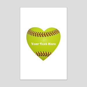 Softball Love Heart Personalized Mini Poster Print