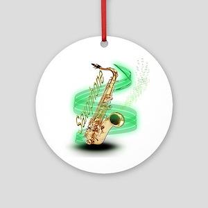 Saxophone Wrap Ornament (Round)