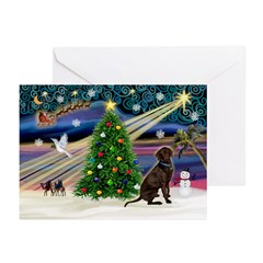 XmasMagic/Chocolate Lab Greeting Cards (Pk of 20)