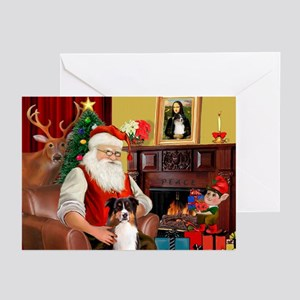 Santa's Tri Aussie (#7) Greeting Cards (Pk of 20)