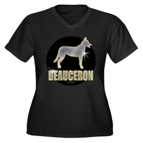 Bling Beauceron Women's Plus Size V-Neck Dark T-Sh