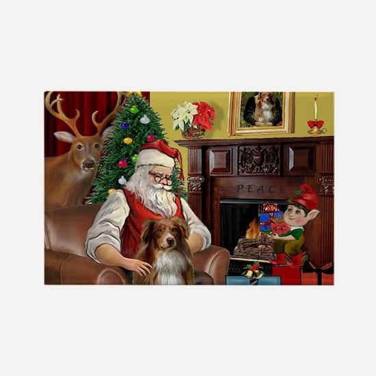 Santa's Aussie (RW4) Rectangle Magnet