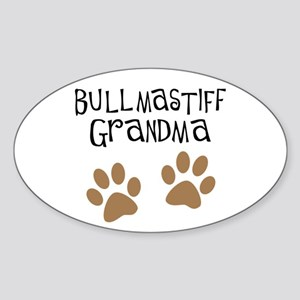 Bullmastiff Grandma Oval Sticker