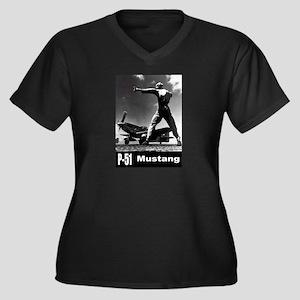 P-51 Mustang Women's Plus Size V-Neck Dark T-Shirt