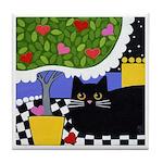 Black Cat & Heart Tree ART Tile