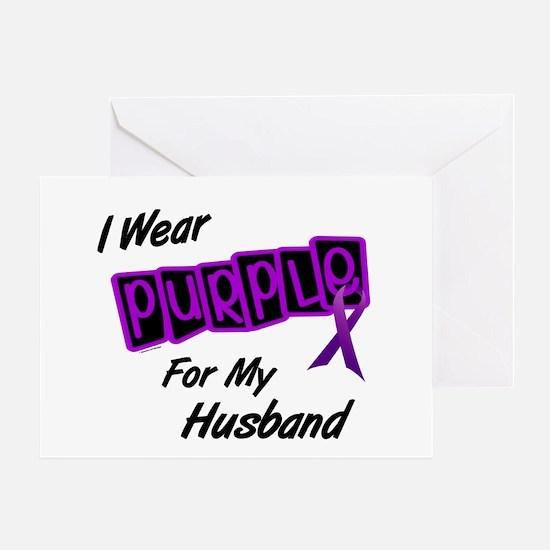 I Wear Purple For My Husband 8 Greeting Card