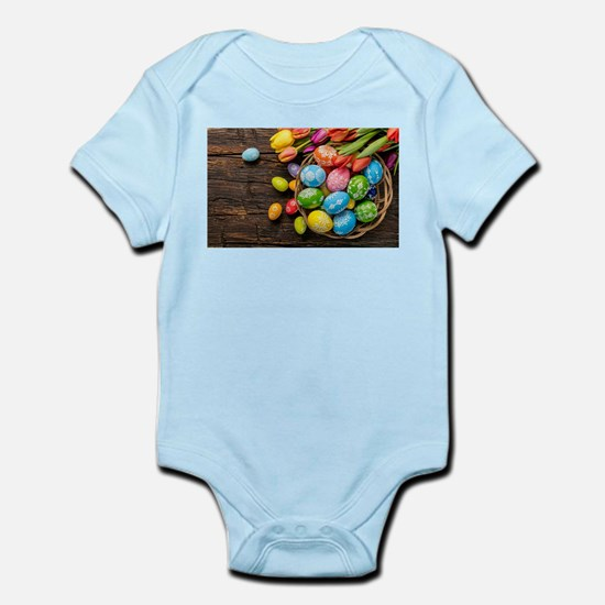 easter-eggs-colorful-tulips-wood-basket Body Suit