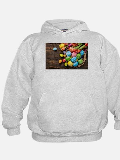 easter-eggs-colorful-tulips-wood-basket Sweatshirt