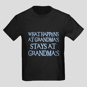 STAYS AT GRANDMA'S (blue) Kids Dark T-Shirt