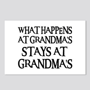 STAYS AT GRANDMA'S (blk) Postcards (Package of 8)