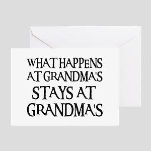 STAYS AT GRANDMA'S (blk) Greeting Card