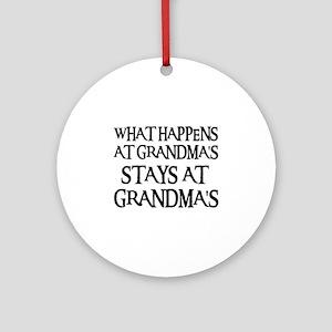 STAYS AT GRANDMA'S (blk) Ornament (Round)