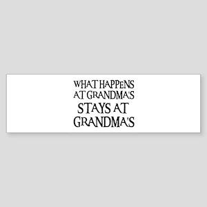 STAYS AT GRANDMA'S (blk) Bumper Sticker