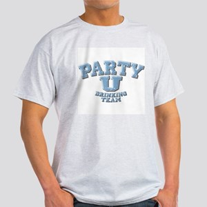 Party U / Drinking Team (blue) Ash Grey T-Shirt