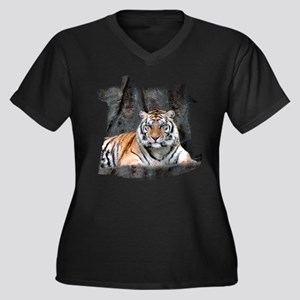 Resting Tiger Women's Plus Size V-Neck Dark T-Shir