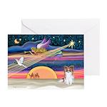 XmasStar/Papillon (s) Greeting Cards (Pk of 10)