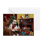 Santa's Papillon Greeting Card