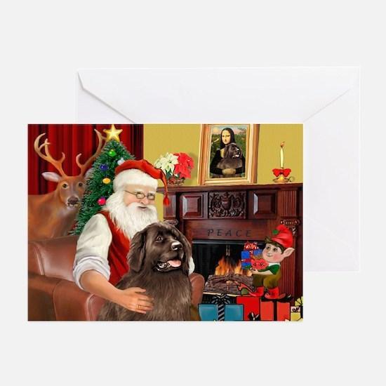 Santa's Newfoundland (br) Greeting Cards(Pk of 20)