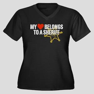 My Heart Belongs to a Sheriff Women's Plus Size V-