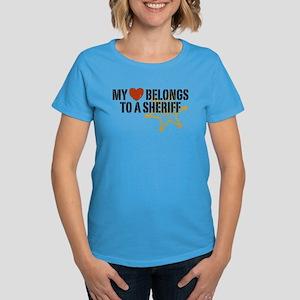 My Heart Belongs to a Sheriff Women's Dark T-Shirt