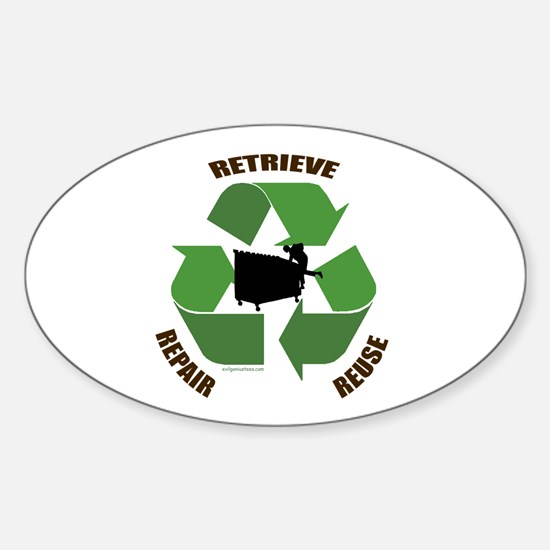 3 Rs of dumpster diving Oval Decal