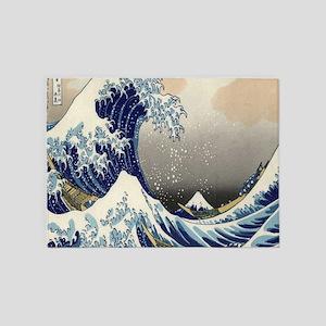 japanese ukiyo great wave 5'x7'Area Rug