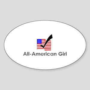 All American Girl Oval Sticker