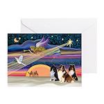XmasStar/3 Shelties (T1) Greeting Cards (Pk of 10)