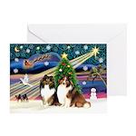 Xmas Magic-2 Shelties Greeting Card