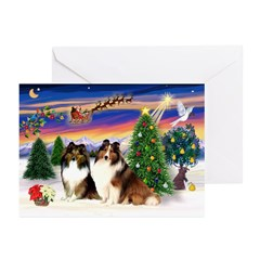 Xmas Tree/Two Shelties Greeting Cards (Pk of 10)