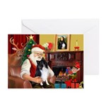 Santa's Bi Black Sheltie Greeting Cards (Pk of 10)