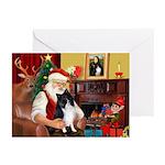 Santa's Bi Black Sheltie Greeting Cards (Pk of 20)