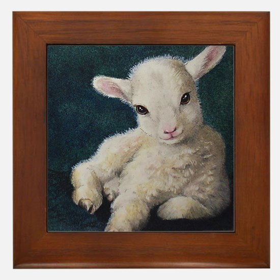 Miniature Lamb Art Framed Tile