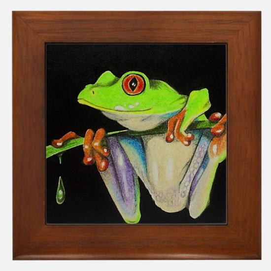 Cute Tree Frog Framed Tile
