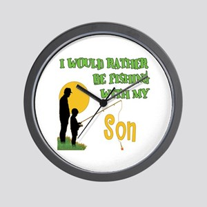 Fishing With Son Wall Clock
