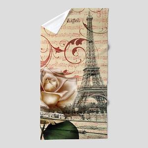 vintage eiffel tower paris Beach Towel