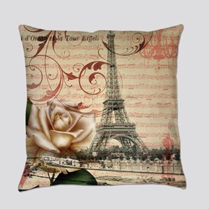 vintage eiffel tower paris Everyday Pillow