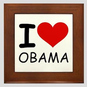 I LOVE OBAMA Framed Tile