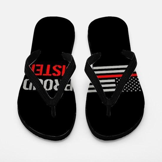 Firefighter: Proud Sister (Black) Flip Flops