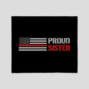 Firefighter: Proud Sister (Black) Throw Blanket