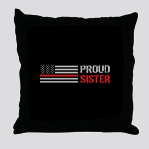 Firefighter: Proud Sister (Black) Throw Pillow