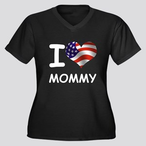 I LOVE MOMMY (USA) Women's Plus Size V-Neck Dark T